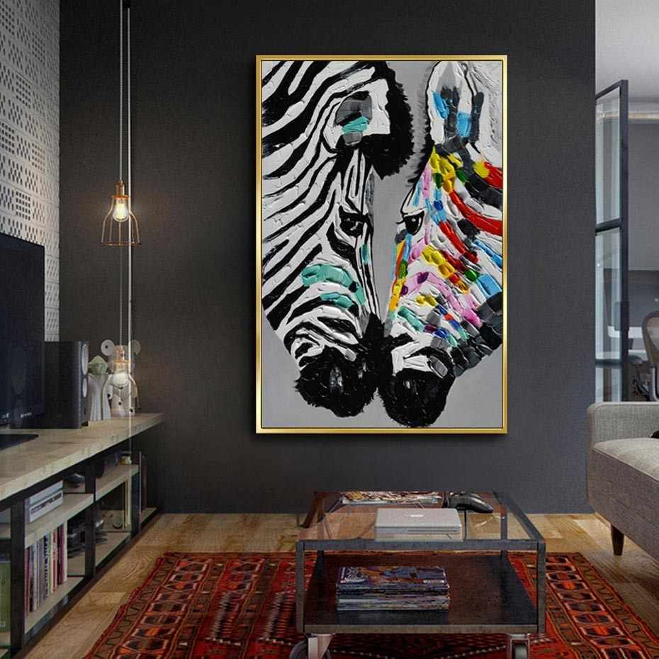 SURE LIFE Large Size Modern Abstract Animals Printed Zebra Oil Painting On Canvas Poster Wall Art Pictures Living Room Decor