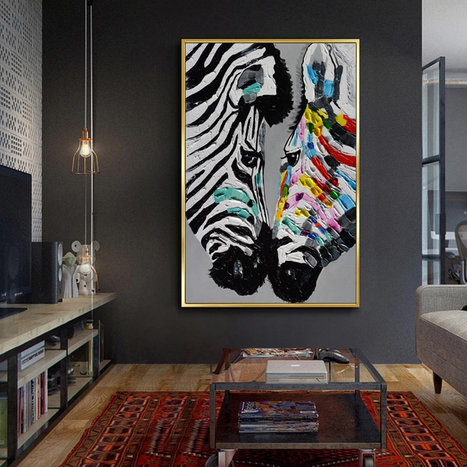 SURE LIFE Large Size Modern Abstract Animals Printed Zebra Oil Painting On Canvas Poster Wall Art Pictures Living Room Decor image