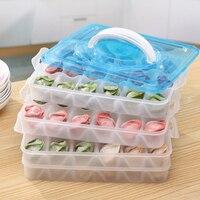 HIPSTEEN Frozen Dumplings Storage Box Crisper Kitchen Grid Tray Plastic Storage Container Preservation Box 4 Layers Color Random
