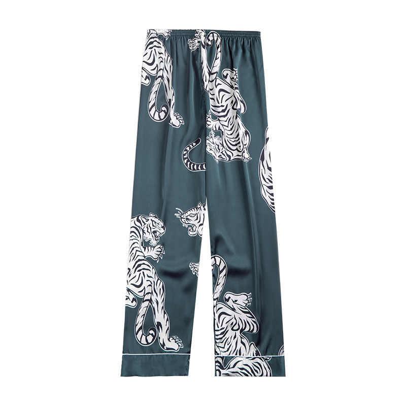 2019 מקרית Loose גברים של סאטן משי פיג 'מה שינה Bottoms קיץ הלבשת רך פיג' מה סקסית Nightwear Pyjama שני צבע