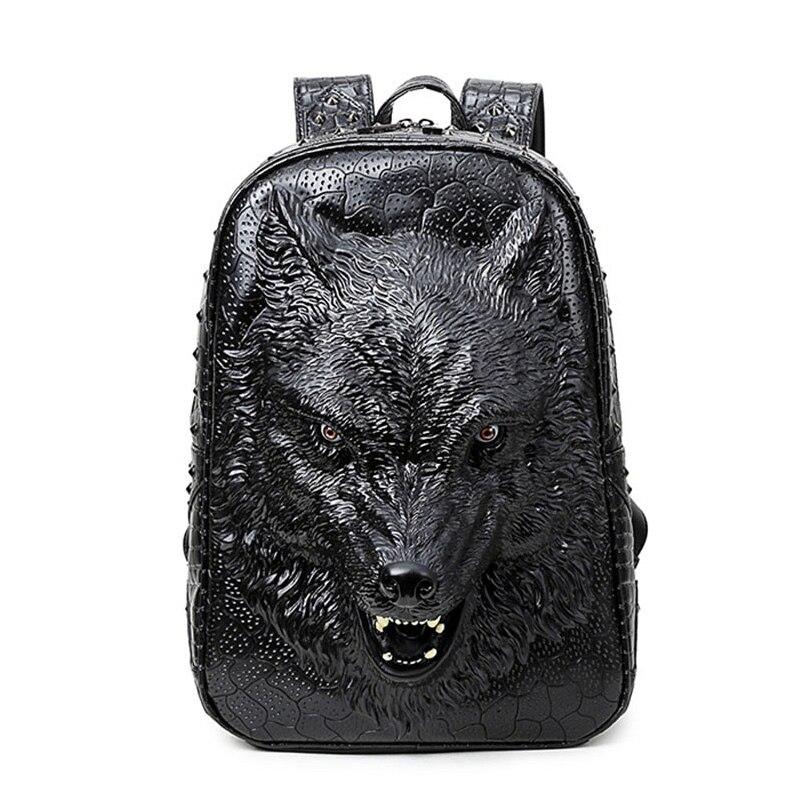 Funatom élégant sacs à dos 3D tête de loup sac à dos spécial cool sacs à bandoulière pour adolescentes PU cuir sacoche pour ordinateurs portable