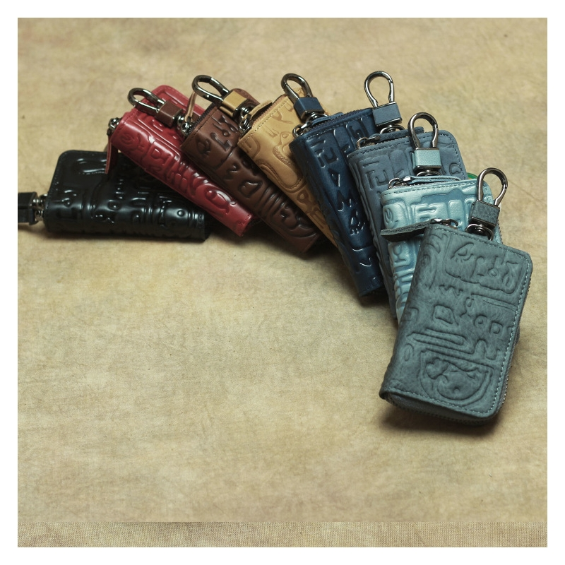 First Layer Leather Key Bag Card Car Coin Purse Pictographic Animal Text Zipper Men And Women