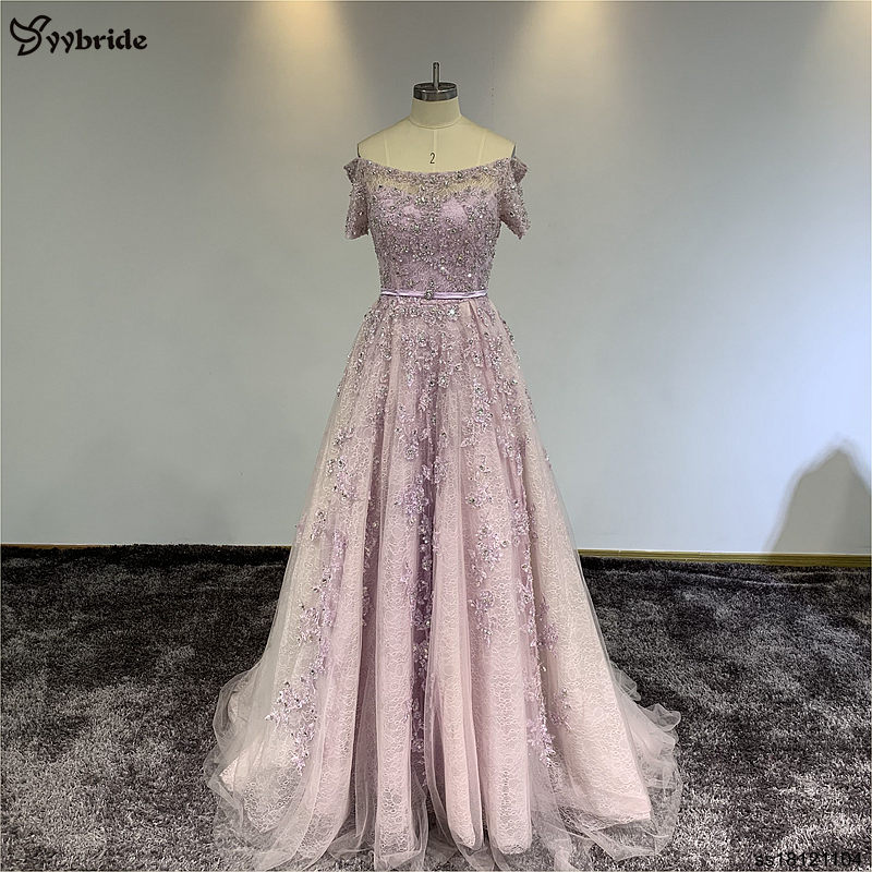 YYbride Light Pink Lace Prom Dresses Boat Neck Short Sleeves Stock Party Dresses Beading Crystals Court Train Evening Dresses