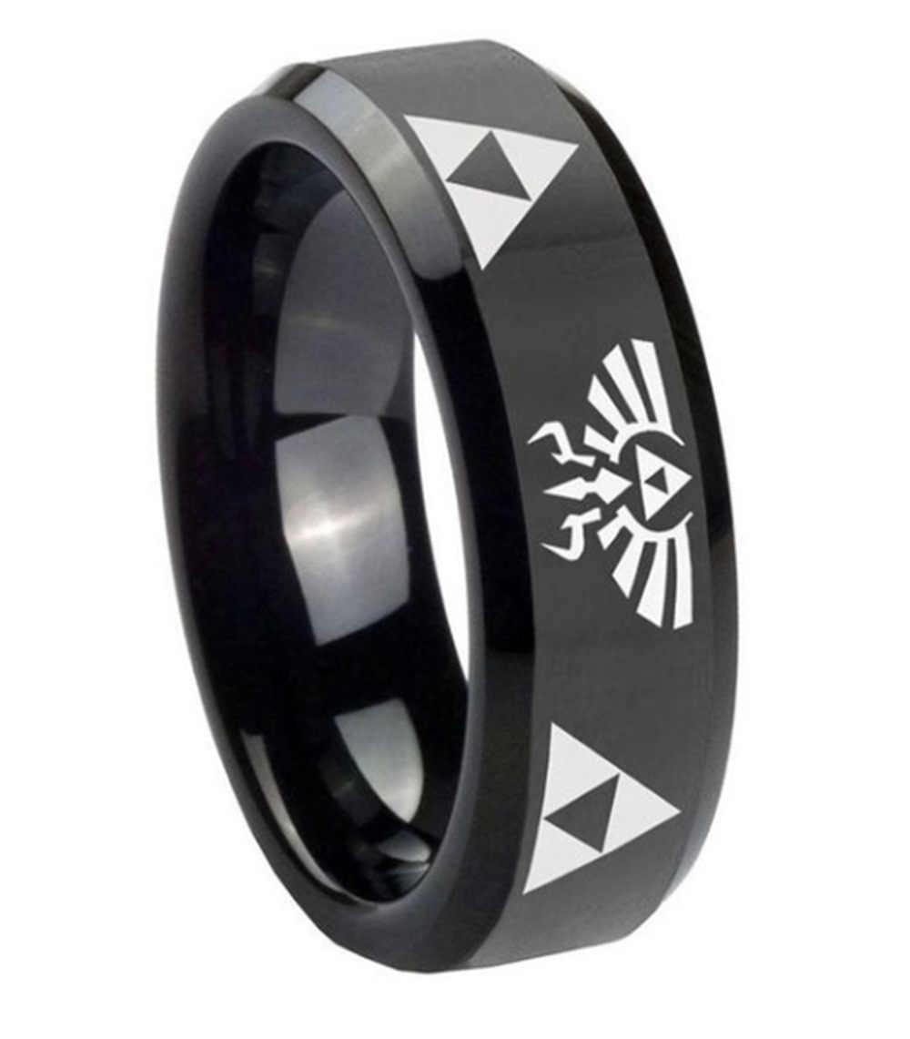 Punk Legend Of Zelda แหวนคู่คริสตัลแหวนผู้หญิงเครื่องประดับสีดำแหวนผู้ชายแหวนหมั้นแหวนงานแต่งงานของขวัญ
