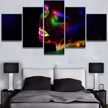 5 Piece Canvas Art Fluorescent Beautiful Girl Modern Decorative Paintings on Wall for Home Decorations Decor