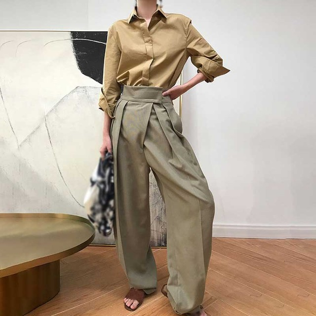 Fashion Women Wide Leg Pants High Waist Long Trousers Solid Casual Female Loose Trousers