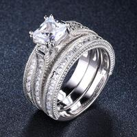 3pcs Solitaire Diamond Wedding Ring Sets Solid 925 Sterling Silver Cubic Zirconia Engagement Ring For Women Bridal Proposal Gift