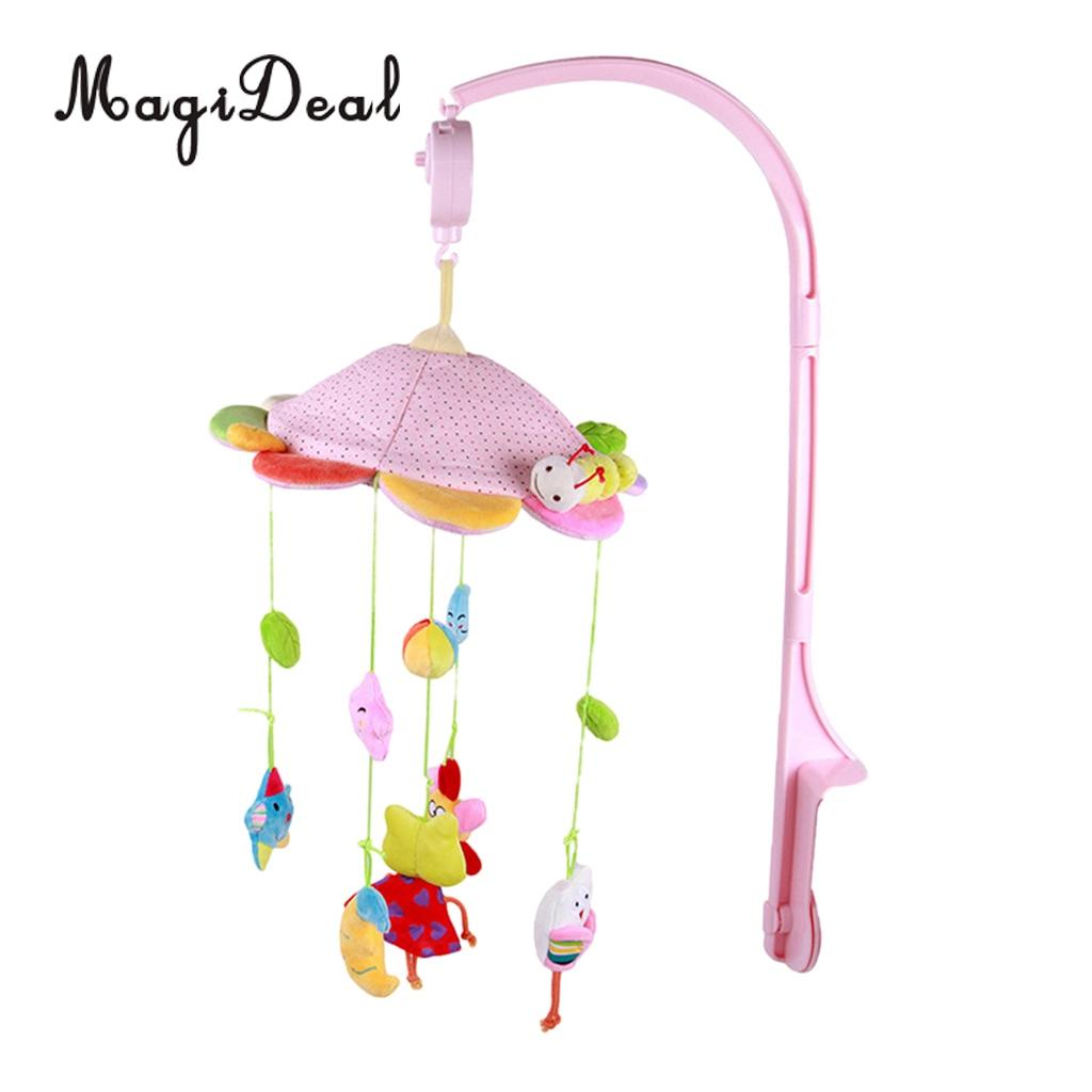 Baby Rotary Mobile Crib Bed Bell Toy Windup Movement Music Box with Lullaby Pink bed cradle musical carousel by mobile bed bell support arm cradle music box with rope automatic carillon music box