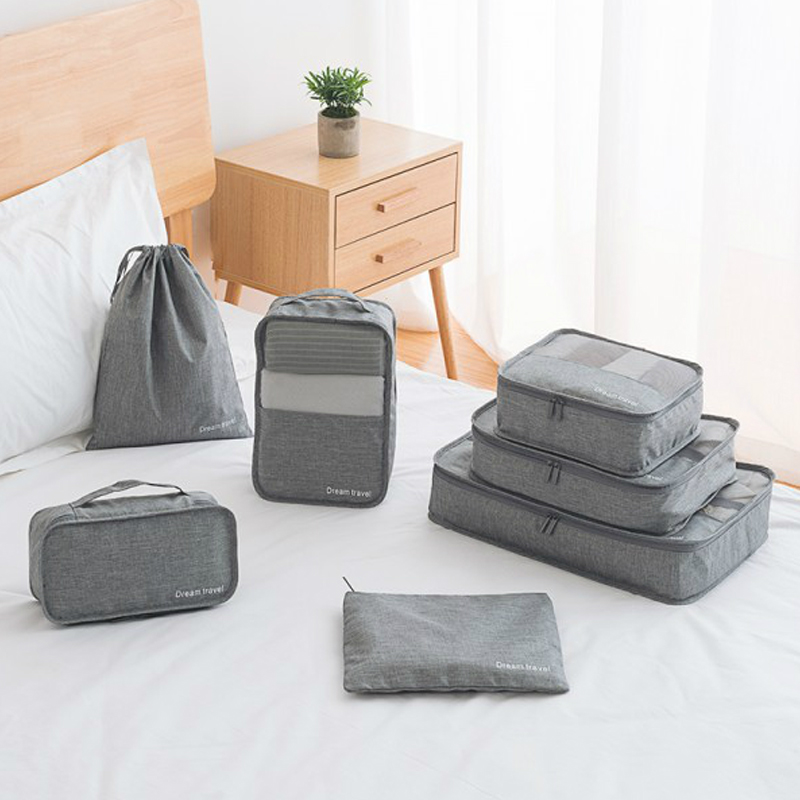 7 Pcs/Set Portable Luggage Travel Bag Sorting Organizer Family Clothes Shoe Pouch Large Capacity Packaging Cube Tote Accessories
