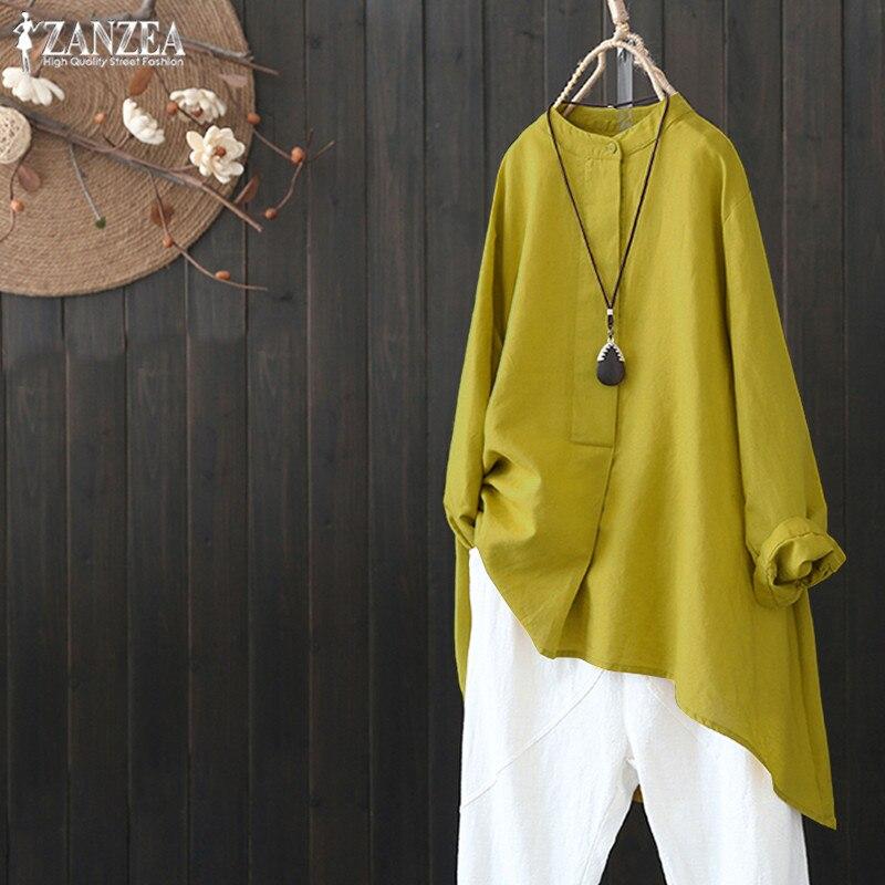 137d0692a9b0 Blusa de lino para mujer talla grande 2019 ZANZEA mujer Casual botón camisa  Vintage túnica Irregular Tops elegante OL trabajo Blusas