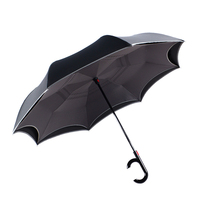 Windproof Automatic Reverse Umbrella Rain Women Folding Double Layer Black Color Umbrella Rain Gear Household Merchandises
