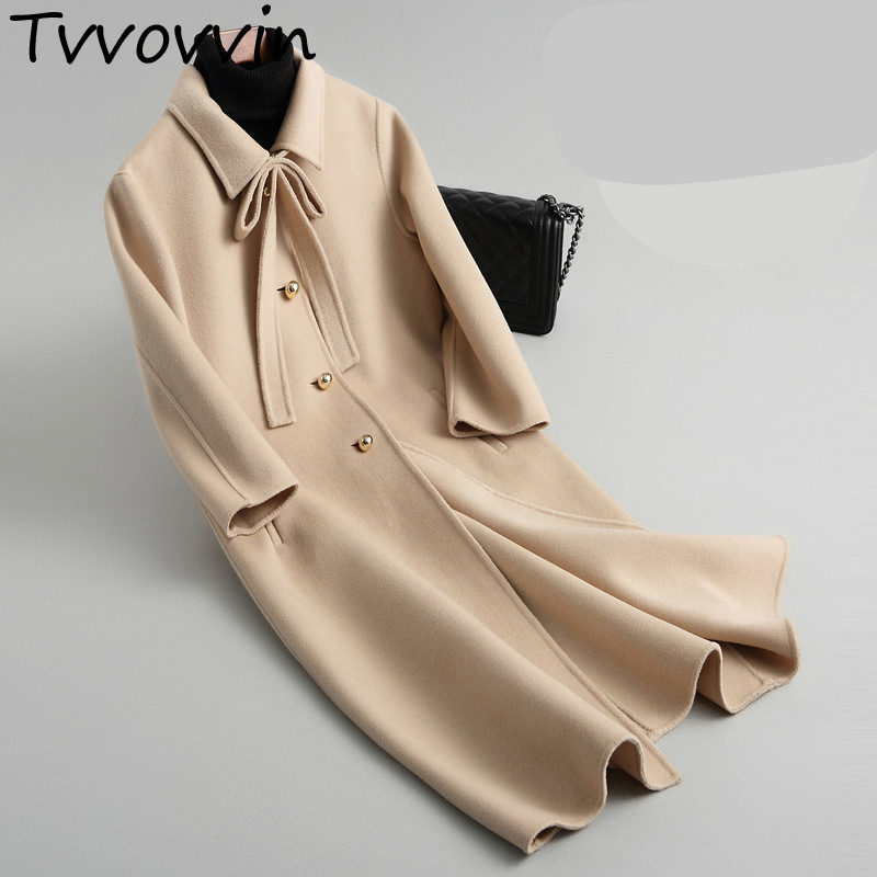 TVVOVVIN 2019 automne hiver Double face haute qualité manteau Double velours laine & mélanges arc couleur unie femmes veste hauts Q481