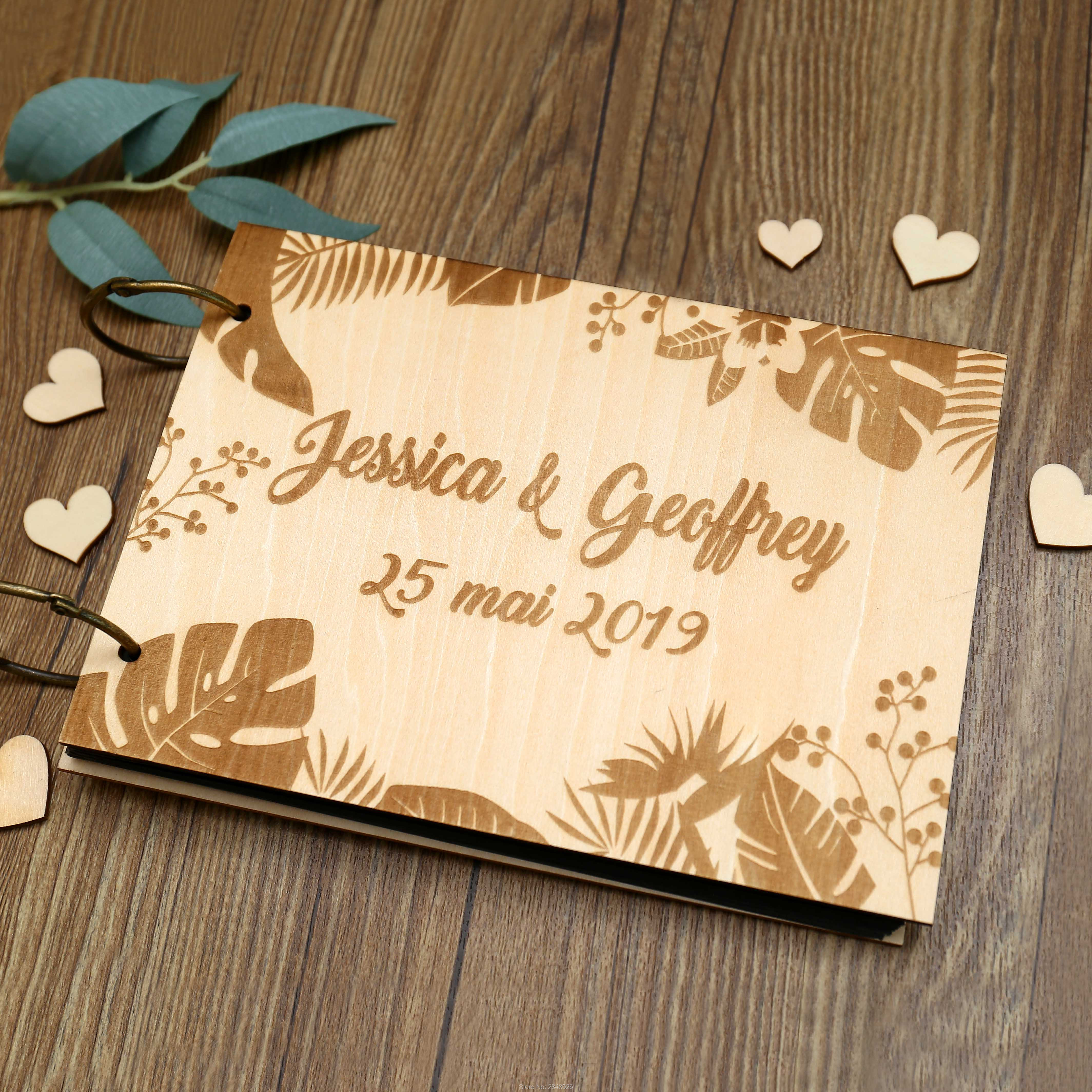 Personalized Wedding Guest Book.Us 12 99 Rustic Personalized Wedding Guest Book Custom Tropical Wooden Wedding Guestbook Personalized Summer Photo Album In Signature Guest Books