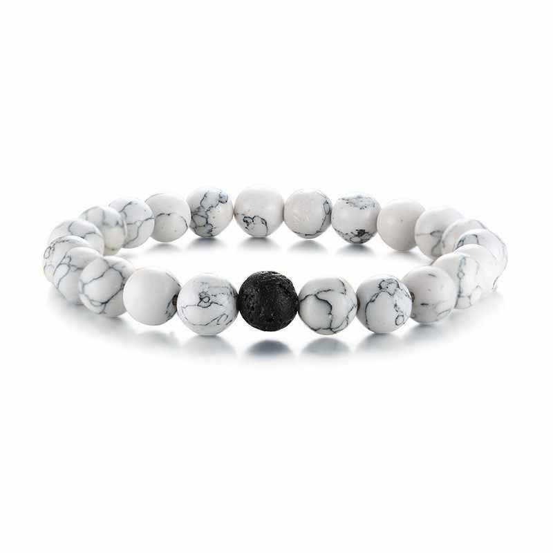 Diffuserlava grânulo pulseira elástica corda yoga esporte charme rua masculino feminino jóias