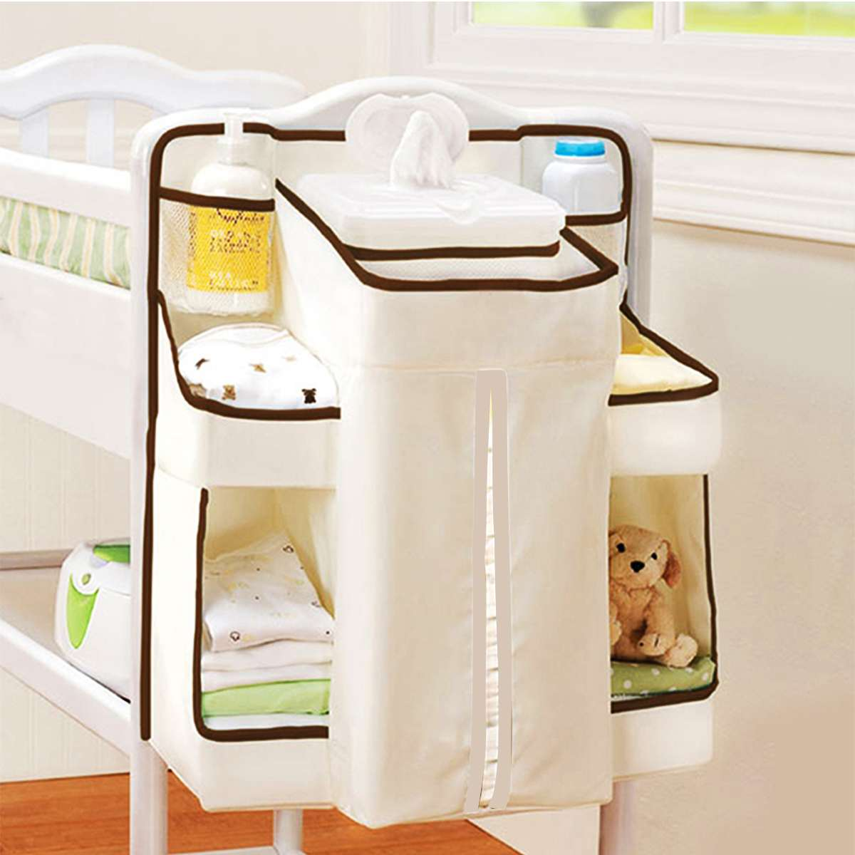 Multifunctional Baby Bed Hanging Bag Crib Toy Organizer Diaper Storage Cradle Pockets Cot Bed Net Yarn Dispenser Pouch For Bed