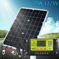 Best 20W 12V/5V Solar Panel USB Charger For Phone Lighting RV Car Boat Voiture Bateau +12/24V 10A dual USB Solar Controller