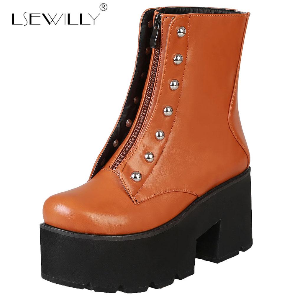 Mode Automne Plate Dames Doux Lsewilly forme Bottes Cheville 2019 Pour Talon Chaussures Noir jaune Femmes Rétro Martin Épais Cuir Pu 5wTTq0