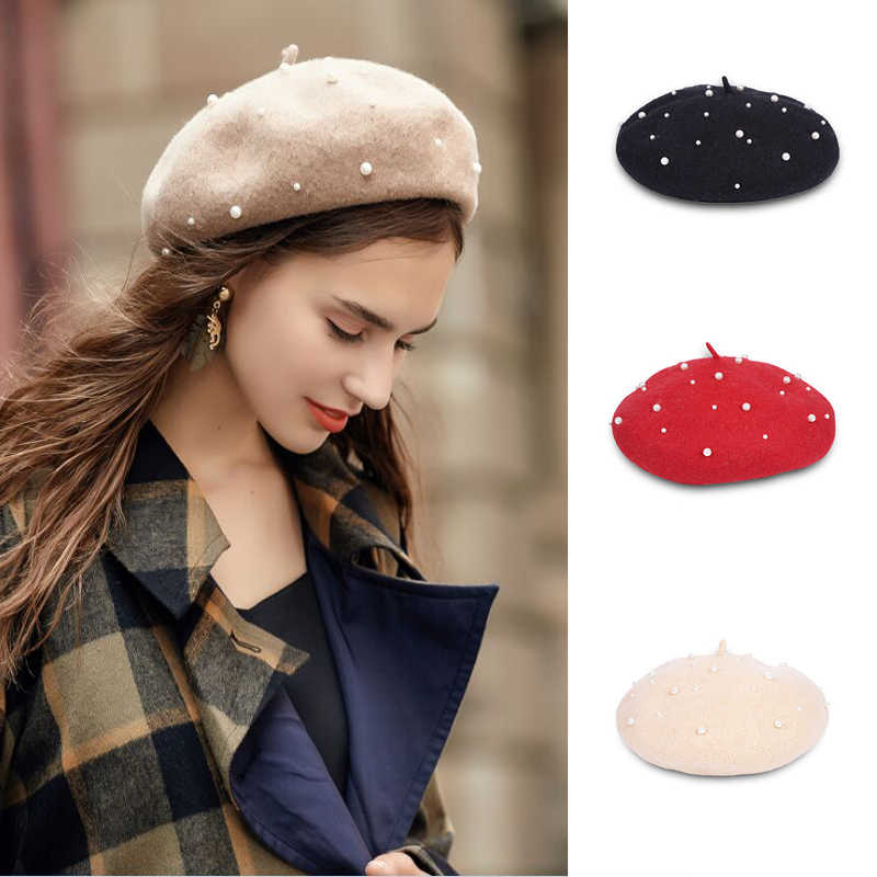 6b778934 New style 100% Wool Vintage Solid Warm Winter Women Beret French Artist  Beanie Hat For