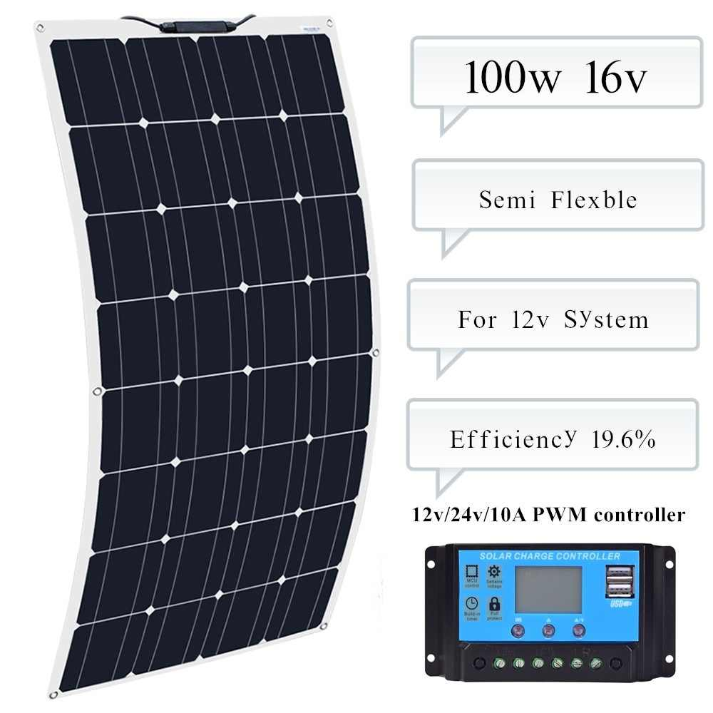 100w Mono Solpanel Module solar panel semi-flexible10A Controller regulator for Caravan RV Boat Yacht Car Home Roof 12v Battery