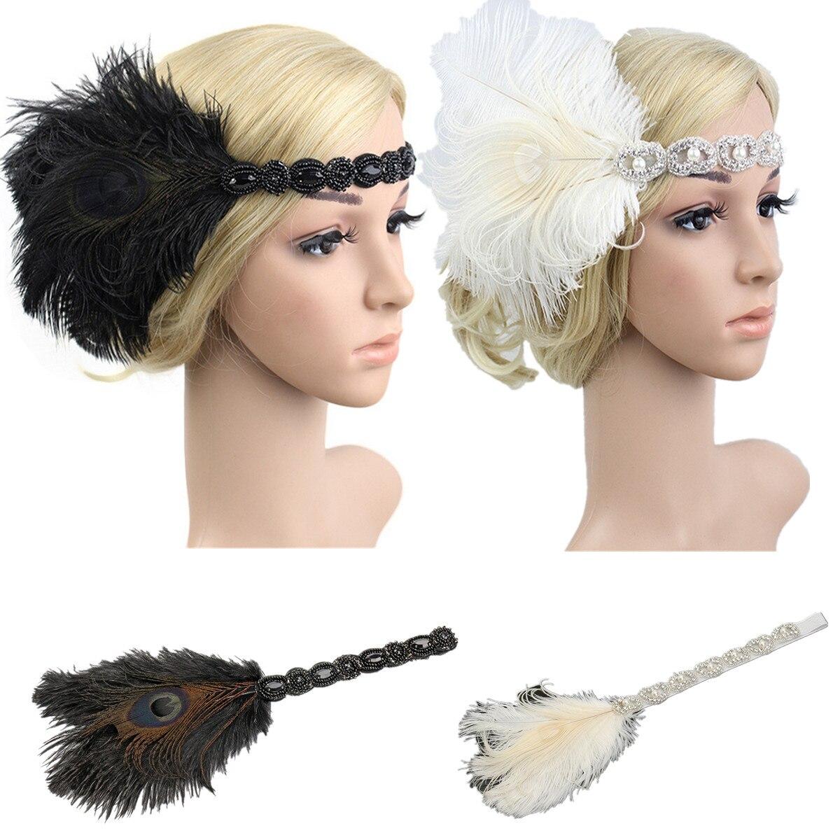 Vintage White Peacock Feather Headband Elastic Band Flapper Headpiece