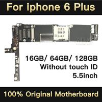 For iphone 6Plus original motherboard NO Fingerprint Factory unlock mainboard for iphone 6 plus IOS logic board 16GB 64GB 128GB