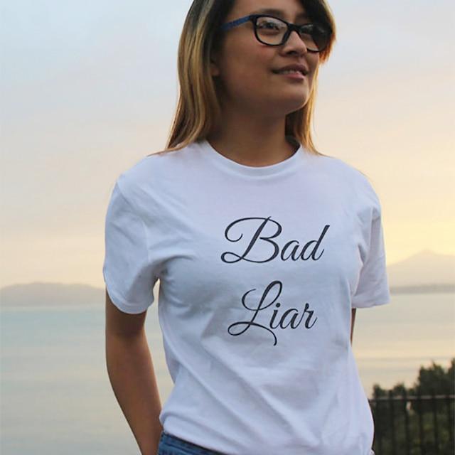 53c6a6c9aba620 TShirt zabawne t-shirty Tumblr bluzka w rozmiarze plus size koszula odzież  damska złe Liar