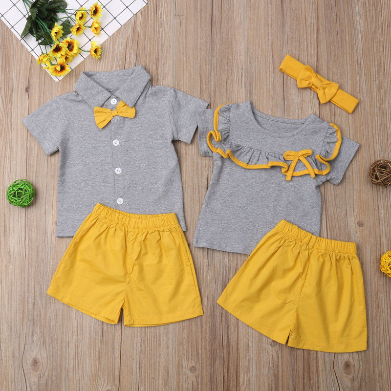 Kids Baby Big Little Sister Brother Short Sleeve T Shirt Bow Tie Ruffle Tops Shorts Outfit Clothes Summer Set