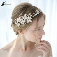 Gold Leaves Tiara Pearl Beads Crown Wedding Hair Accessories Luxury Bridal Hair Ornaments Women Headpiece Jewelry For Girl