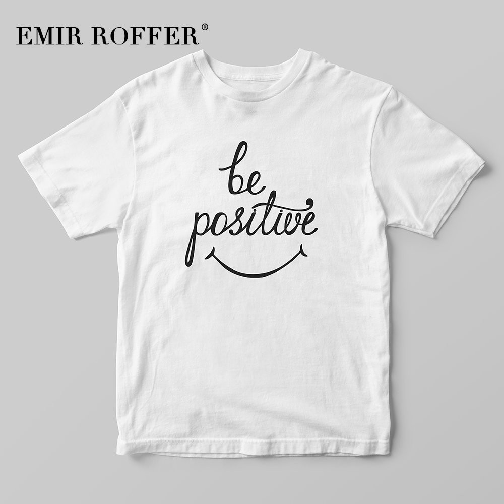 df8d609b EMIR ROFFER be positive Smile Face Harajuku Shirt Kawaii Cute Graphic Tees  Women 90s Vintage Inspiration