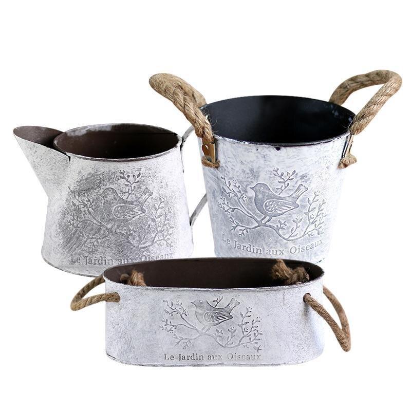 Vintage Metal Iron Hemp Rope Handles Flower Garden Shabby Vase Pot Succulent Plants Bucket Planter Decor Flower Pot