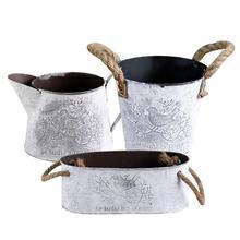 Винтаж из металла конопли веревочные ручки с садовыми цветами потертая ваза горшок для суккулентов растения ведро горшок декорация цветочный горшок