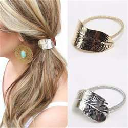 Для женщин Мода полосой листьев эластичные повязка на голову аксессуары для волос повседневное вечерние цвета: золотистый, серебристый