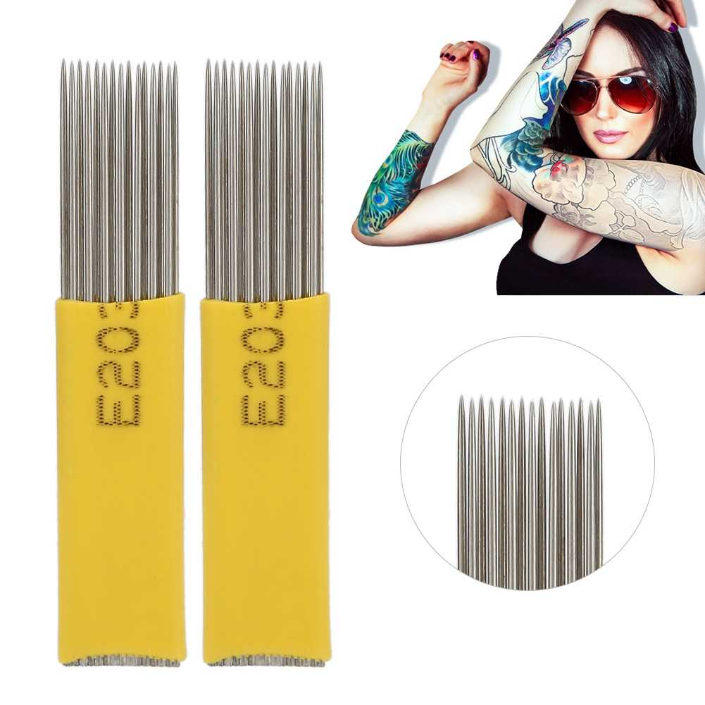 Agujas de tatuaje de acero inoxidable desechables de 50 piezas para la máquina de tatuaje Normal doble fila 15 agujas de tatuaje
