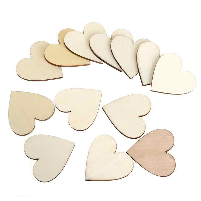100pcs 40mm Blank Heart Home Wedding Decorative Photo Prop Wood Slices Discs for DIY Crafts Embellishments