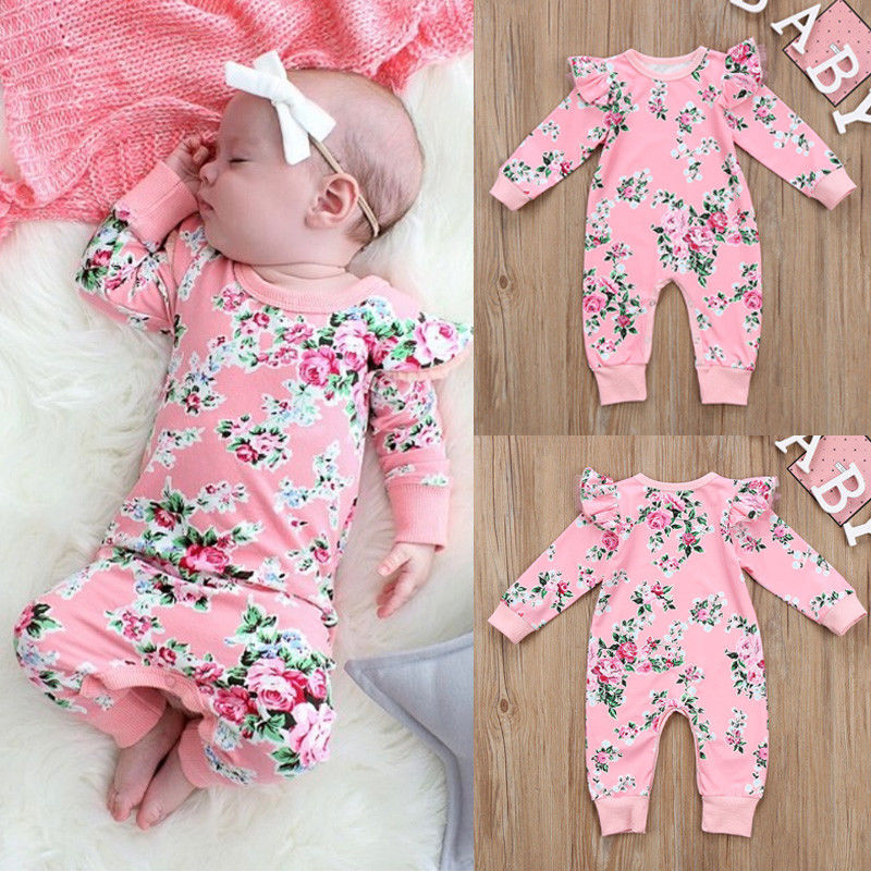 Waymine Infant Girl Short Sleeve Solid Romper+Floral Print Skirt+Headbands Set