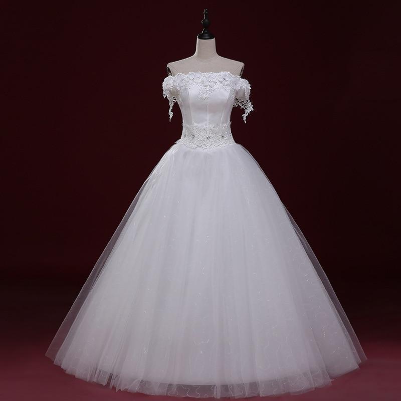 Robes De mariée sans bretelles dentelle Appliques à lacets robe De bal perles De l'épaule 2019 Robes De mariée formelles Robes De Mariee