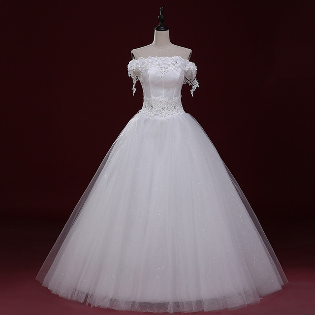 Wedding Dresses Strapless Lace Appliques Lace Up Ball Gown Beading Off the Shoulder