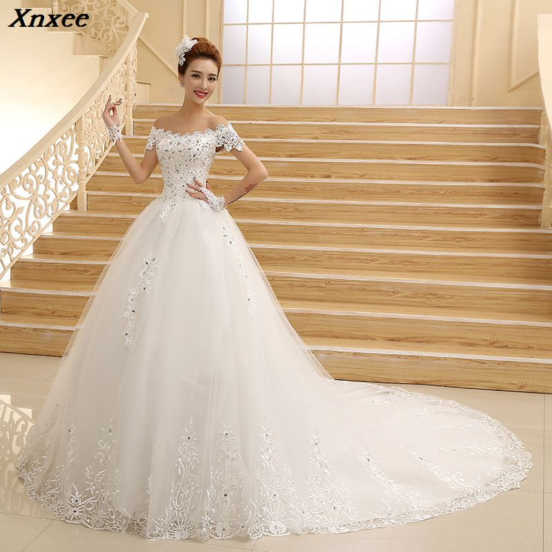 Vestido De Novia 2018 New Bridal Gown Princess White Lace Beading Crystal Boat Neck Royal Train Cheap Dresses Plus Size Xnxee in Dresses from Women 39 s Clothing