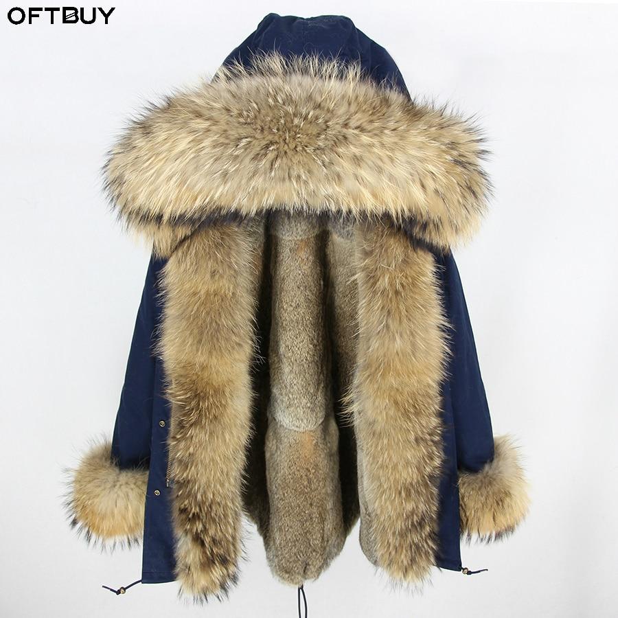 OFTBUY 2019 Long Parka Winter Jacket Women Parkas Real Fur Coat Natural Raccoon Fur Hood Real Rabbit Fur Liner Luxury Streetwear