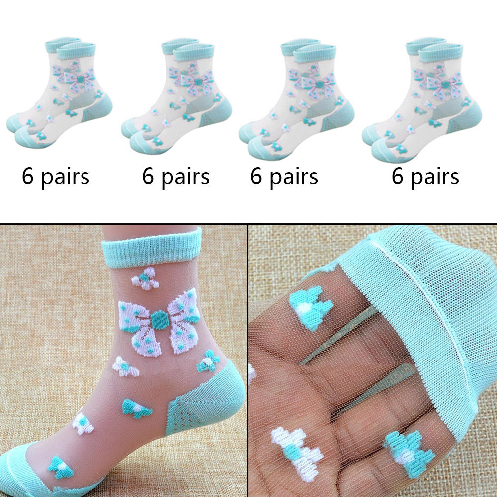 6 Pairs/Lot Girls Socks Mesh Style Baby Socks with Trendy Elastic Lace Flowers Summer Butterfly Crystal Silk Children Socks6 Pairs/Lot Girls Socks Mesh Style Baby Socks with Trendy Elastic Lace Flowers Summer Butterfly Crystal Silk Children Socks