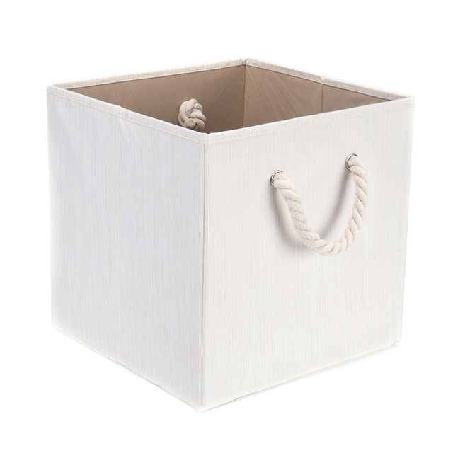 1pc 13inch Storage Box Beige Waterproof Foldable Laundry Hamper Sundries Organizer Household Supplies