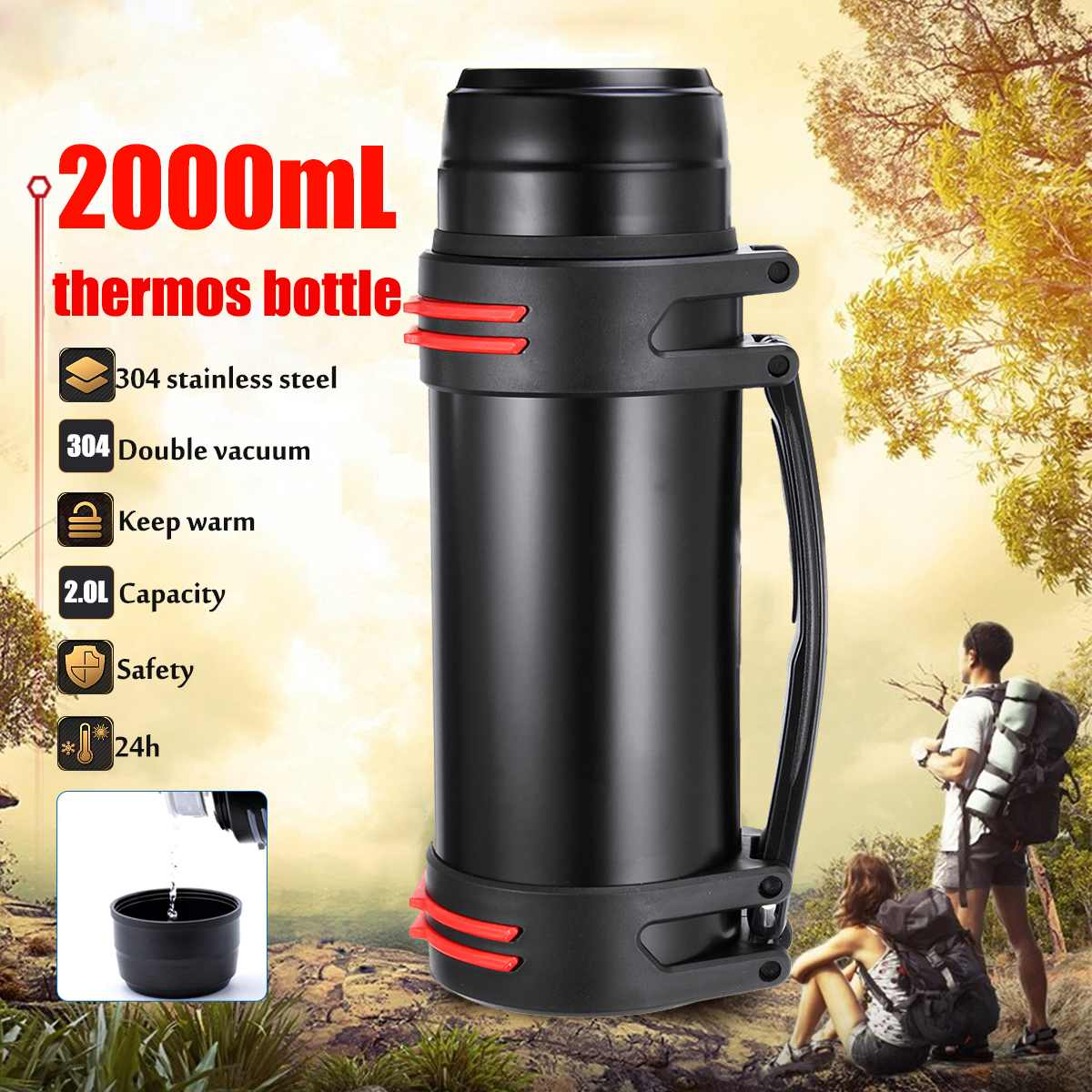 2L Stainless Steel thermoses Cup Bottle Portable Ourdoor Travel Mug Insulation Pot Electric Kettles Vacuum Flask Water Bottle2L Stainless Steel thermoses Cup Bottle Portable Ourdoor Travel Mug Insulation Pot Electric Kettles Vacuum Flask Water Bottle