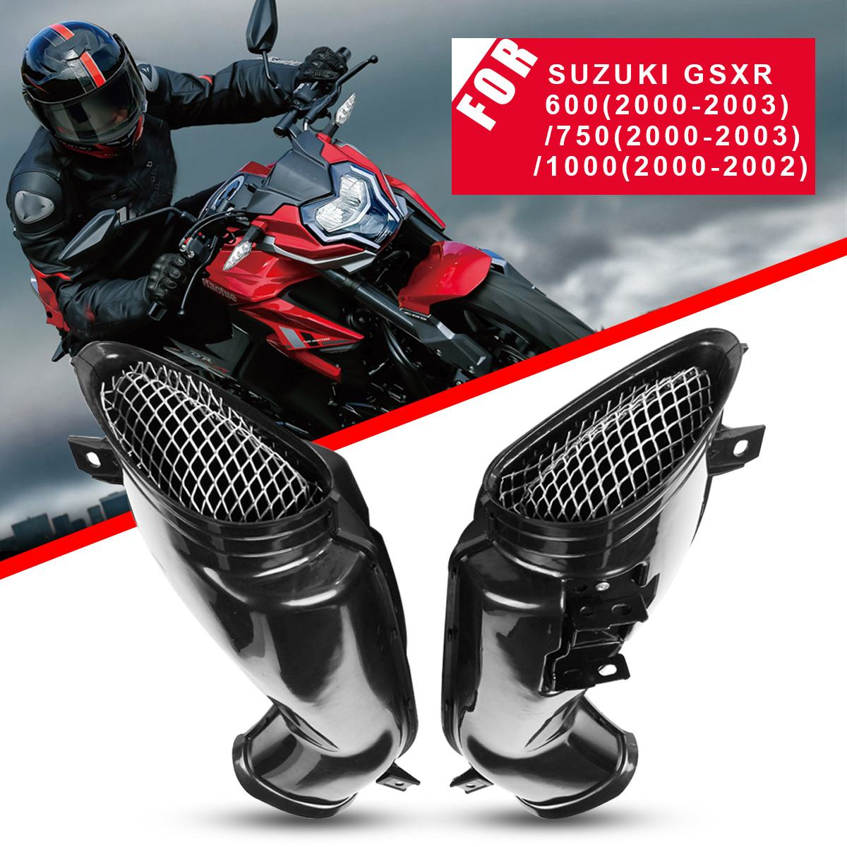 1 Pair Motorcycle Air Intake Tube Duct Cover Fairing For UZUKI /GSXR 600/750/1000 2000-2003 Motorcycle Accessories