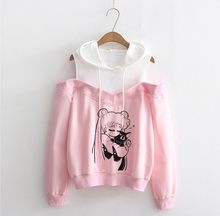 Sailor Moon Hoodie Kawaii 의류 탑 여성 Hoodie 하라주쿠 선원 문 고양이 셔츠 Off-shoulder sweatshirt Femme Girls Woman(China)