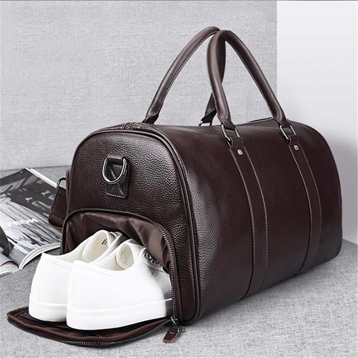 Unisex Travel Bag Women Men PU Leather Handbag Crossbody Bag PU Large Capacity Luggage Shoulder Bag Couples Duffel Totes Package