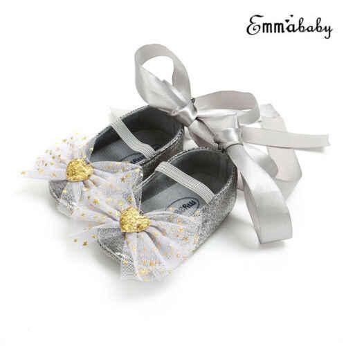תינוקות יילוד תינוקת נסיכת התחרה החלקה נעלי תינוק Bowknot נעלי 0-18 M