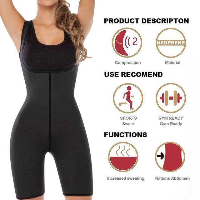 fcde1259be Women Weight Loss Corset Shapewear Full Body Shaper Neoprene Sauna Suit  Slimming Burne Tummy Fat Yoga Trainer Sportswear Black