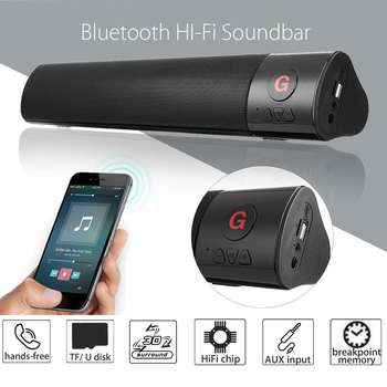 10W Portable Wireless bluetooth Speaker Stereo Soundbar Home Theater 3D Stereo Surround Subwoofer FM TF AUX USB for Computer