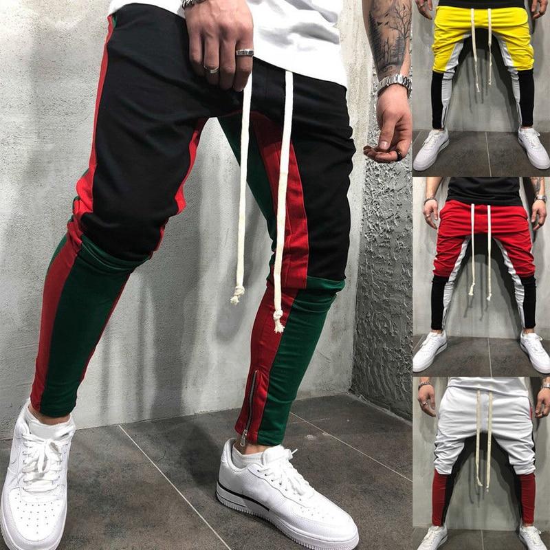 Mens 2018 New Jogger Pants Zippers On Pants Legs Sports Gym Workout Streetwear Hip Hop Track Trousers Long Slacks Sweatpants