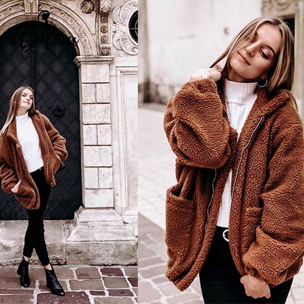AZULINA Zip Up Flauschigen Winter Mantel Frauen Jacke Fluffy Shaggy Faux Pelz Mantel Solide Bomber Jacke Damen Tops Neue Frauen oberbekleidung